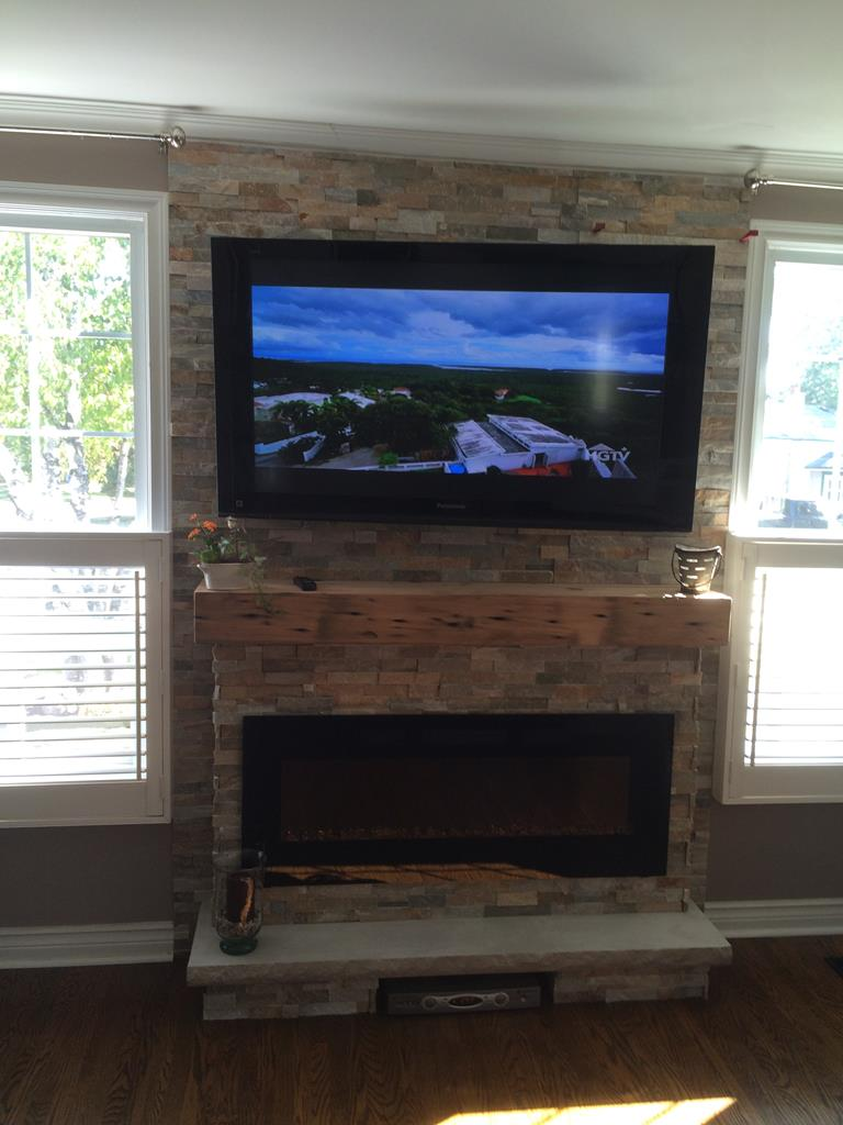 new fireplace with mantle